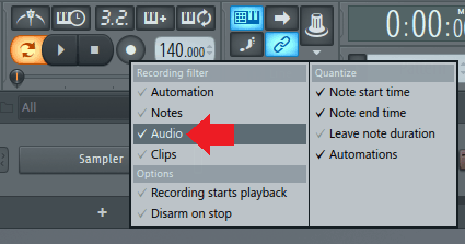 set recording filter to audio