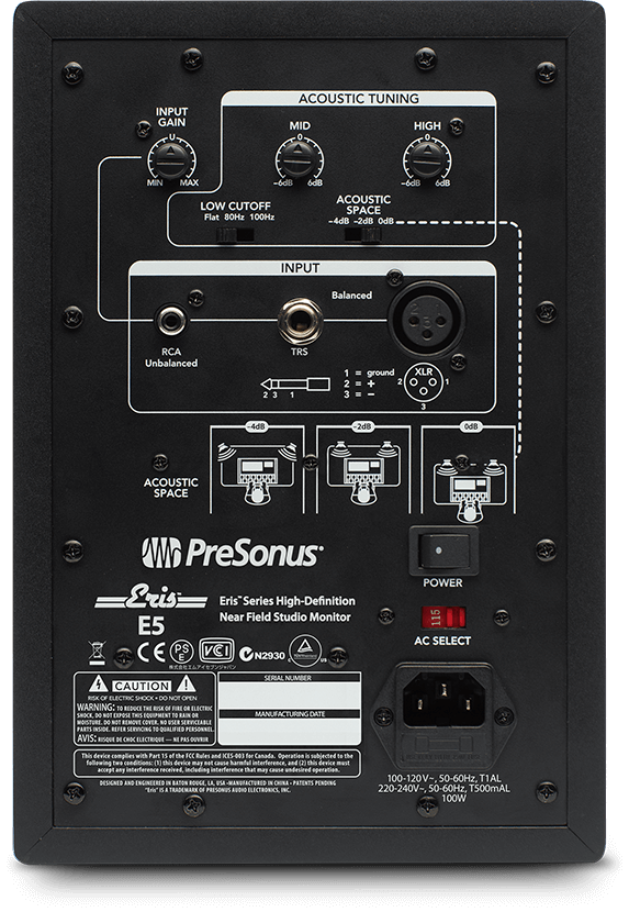 presonus eris e5 back side