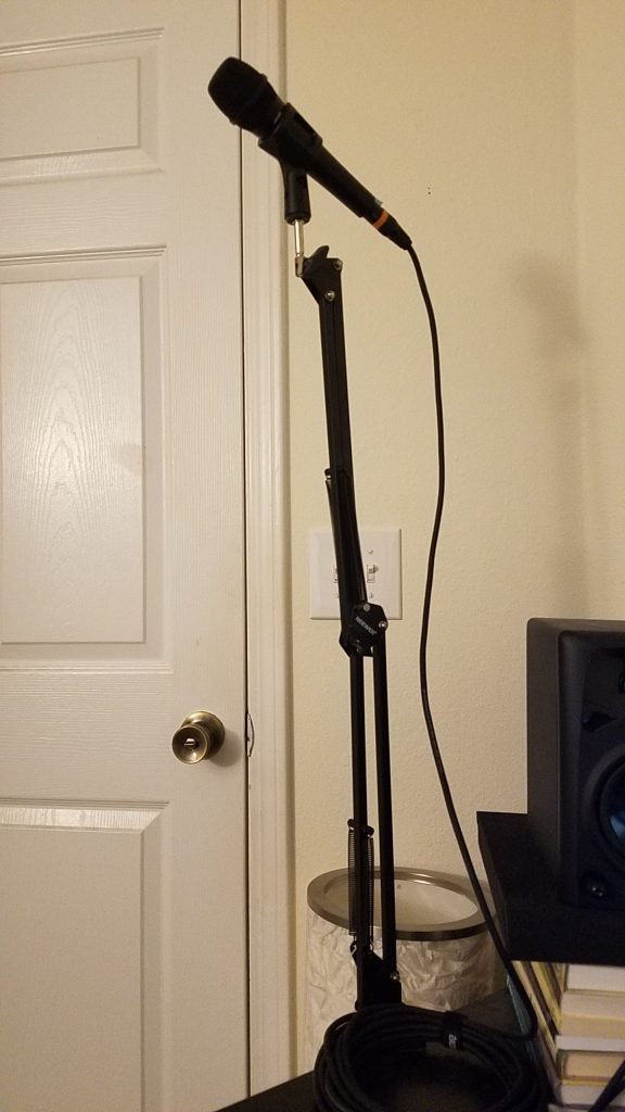 Neewer Adjustable Microphone Suspension Boom Scissor Arm Stand at full extension.