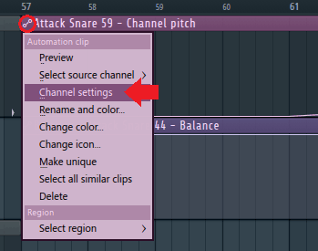 automation clip channel settings