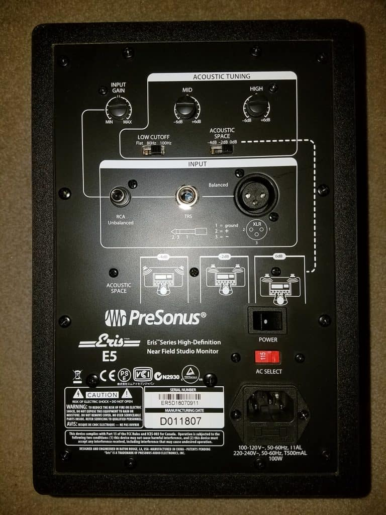 presonus eris e5 review back side