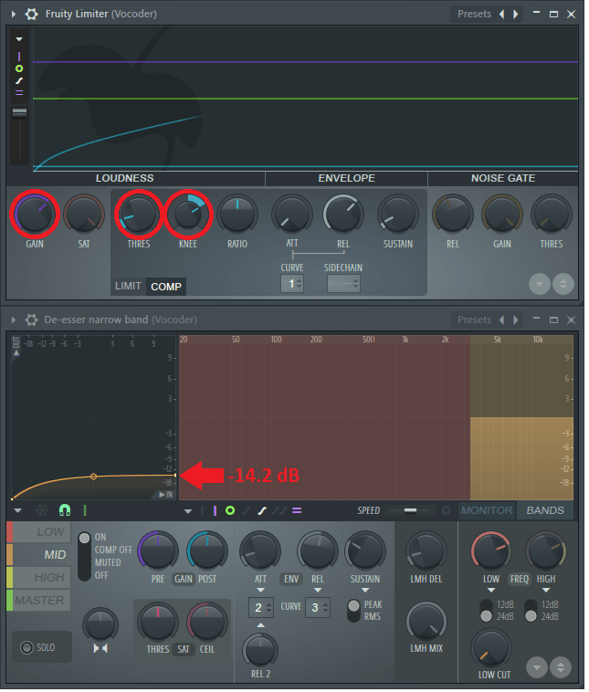 vocoder limiter and maximus settings